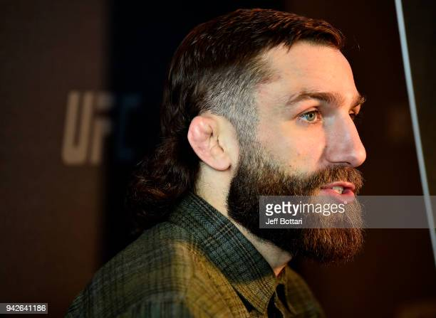 Michael Chiesa interacts with media during the UFC 223 Ultimate Media Day inside Barclays Center on April 5 2018 in Brooklyn New York