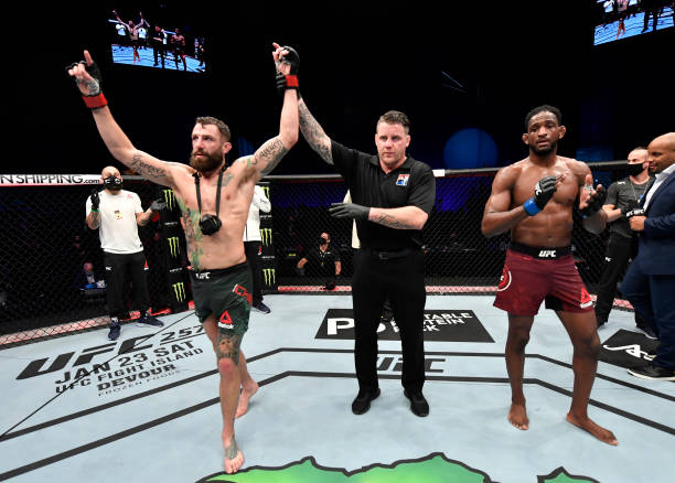 Michael Chiesa reacts after his victory over Neil Magny in a welterweight fight during the UFC Fight Night event at Etihad Arena on UFC Fight Island...
