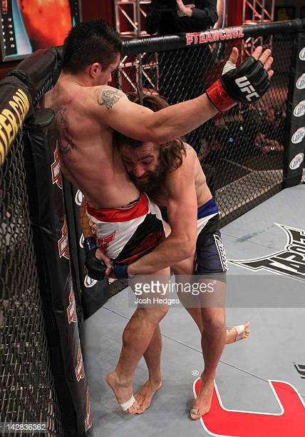 Michael Chiesa shoots for a takedown against Jeremy Larsen during their preliminary bout during season fifteen of The Ultimate Fighter at The UFC...