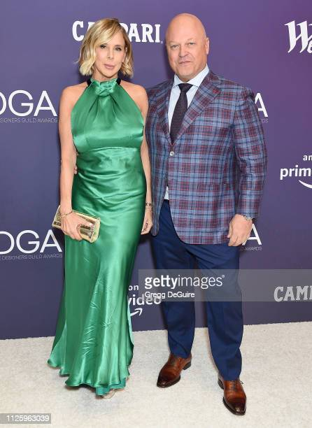 Michael Chiklis and Michelle Moran arrive at the 21st CDGA at The Beverly Hilton Hotel on February 19 2019 in Beverly Hills California