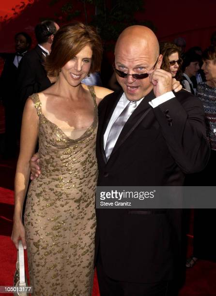 Michael Chiklis and wife Michelle Moran during The 54th Annual Primetime Emmy Awards Arrivals at The Shrine Auditorium in Los Angeles California...