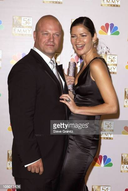 Michael Chiklis winner Best Lead Actor In A Drama Series 'The Shield' and Jill Hennessy at the 54th Annual Emmy Awards