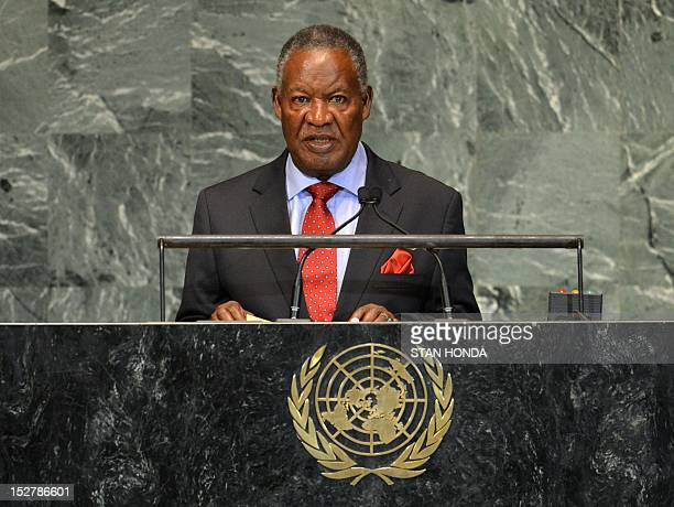 Michael Chilufya Sata President of the Republic of Zambia speaks during the 67th session of the United Nations General Assembly September 26 2012 at...