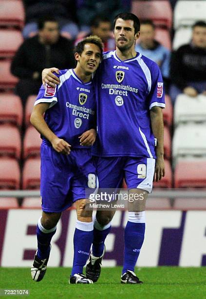 Michael Chopra of Cardiff celebrates his goal with team mate Steven Thompson during the CocaCola Championship match between Sunderland and Cardiff...