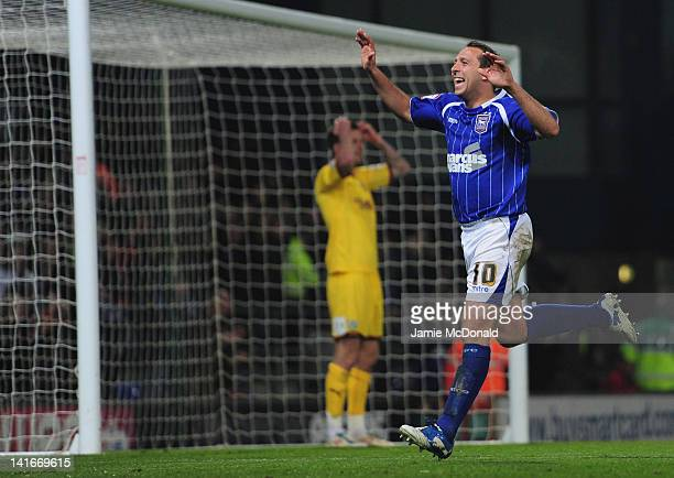 Michael Chopra of Ipswich Town celebrates his goal during the npower Championship match between Ipswich Town and Burnley at Portman Road on March 21...