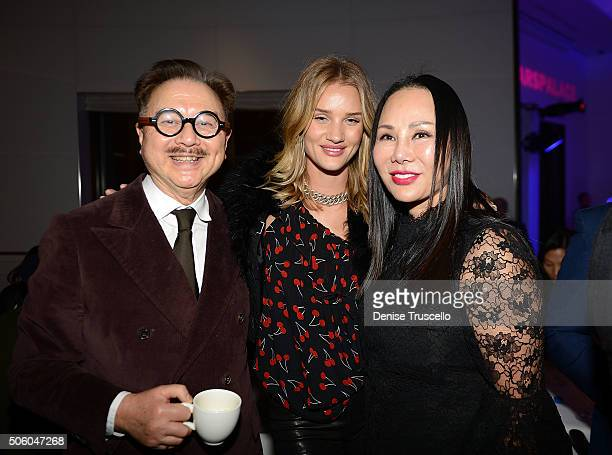 Michael Chow and Eva Chun Chow arrive at Mr Chow Caesars Palace following the debut of JENNIFER LOPEZ ALL I HAVE on January 20 2016 in Las Vegas...
