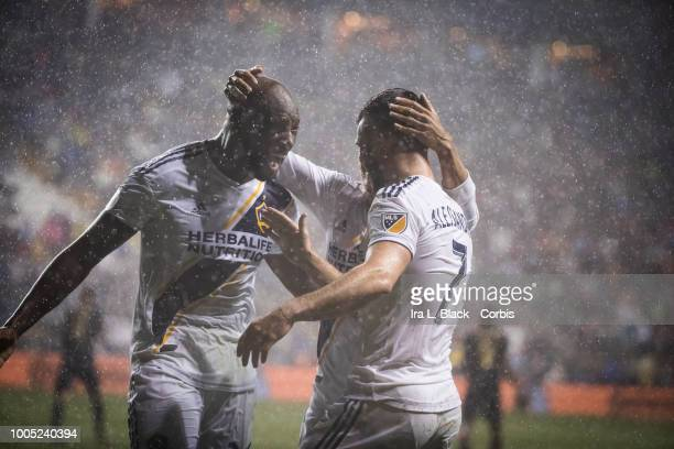 Michael Ciani of LA Galaxy gets congratulations after scoring a goal during the Major League Soccer match between LA Galaxy and Philadelphia Union at...