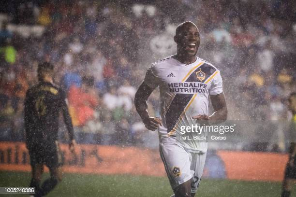 Michael Ciani of LA Galaxy is all smiles after scoring a goal during the Major League Soccer match between LA Galaxy and Philadelphia Union at Talen...