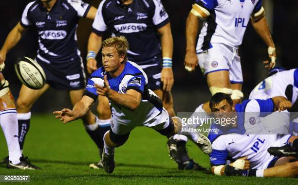 Michael Claasens of Bath passes the ball away during the Guinness Premiership match between Sale Sharks and Bath at Edgeley Park on September 18,...