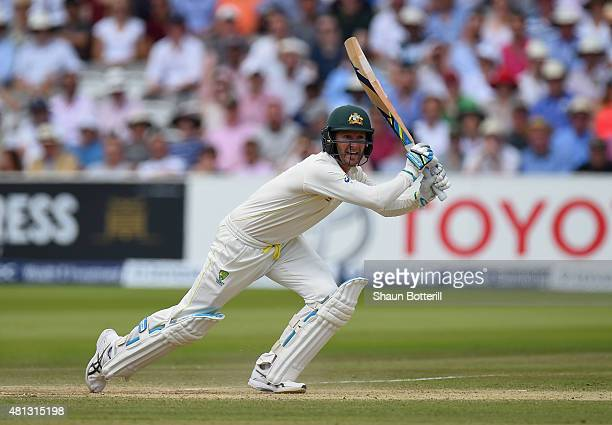 Michael Clark of Australia plays a shot during day four of the 2nd Investec Ashes Test match between England and Australia at Lord's Cricket Ground...