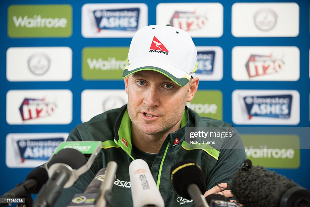 Michael Clarke addresses the media during the Australian Team Arrival Press Conference at Old Merchant Taylors' School on June 21, 2015 in Watford, England.