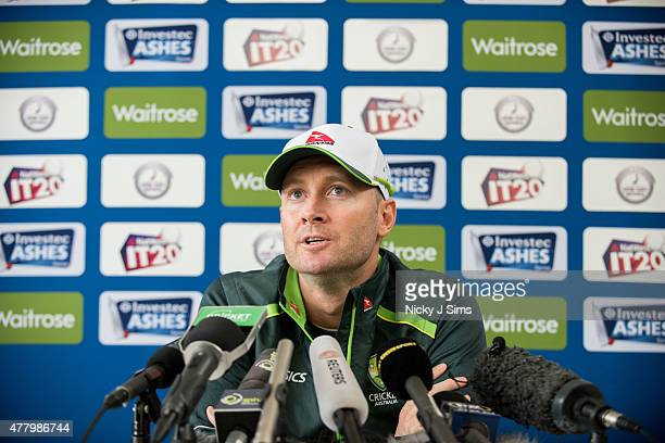 Michael Clarke addresses the media during the Australian Team Arrival Press Conference at Old Merchant Taylors' School on June 21 2015 in Watford...