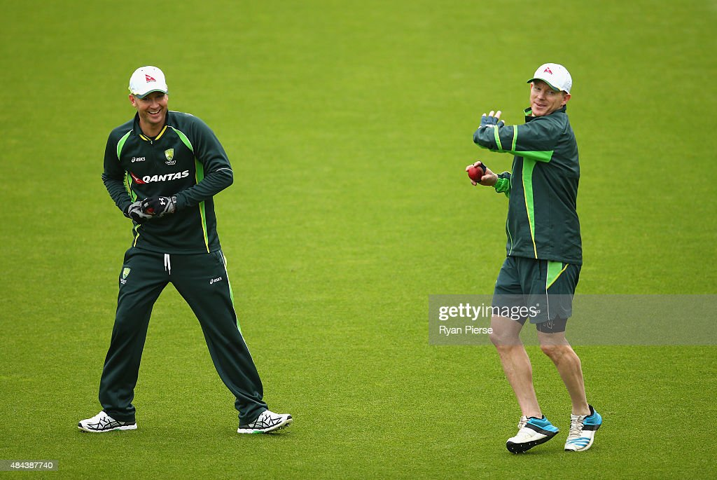 Michael Clarke and Chris Rogers of Australia field during a nets session ahead of the 5th Investec Ashes Test match between England and Australia at The Kia Oval on August 18, 2015 in London, United Kingdom.