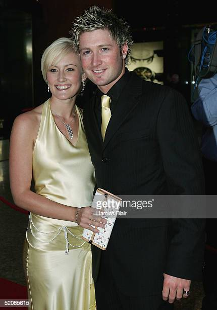 Michael Clarke and Erina LeaConnelly arrive for the 2005 Allan Border Medal Dinner held at Crown Casino on January 31 2005 in Melbourne Australia