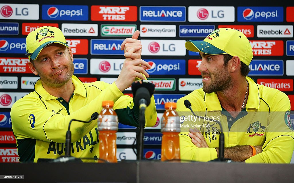 Michael Clarke and Glenn Maxwell of Australia answer questions from the media after the 2015 ICC Cricket World Cup match between Australia and Sri Lanka at Sydney Cricket Ground on March 8, 2015 in Sydney, Australia.