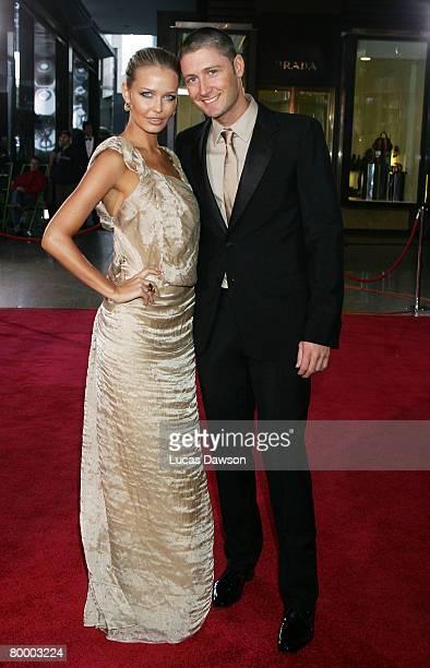 Michael Clarke and his partnermodel Lara Bingle arrive at the 2008 Allan Border Medal at Crown Casino on February 26, 2008 in Melbourne, Australia.