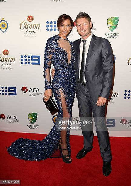 Michael Clarke and Kyly Clarke arrive at the 2014 Allan Border Medal at Doltone House on January 20 2014 in Sydney Australia