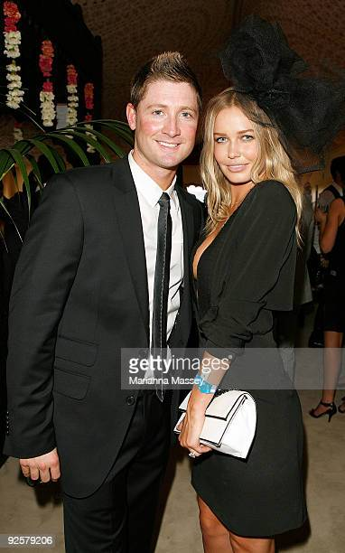 Michael Clarke and Lara Bingle in the Emirates marquee at the AAMI Victoria Derby Day at Flemington Racecourse on October 31 2009 in Melbourne...
