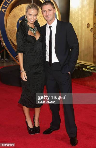 Michael Clarke and partner and model Lara Bingle arrive at the 2009 Allan Border Medal at the Crown Casino February 3, 2009 in Melbourne, Australia.
