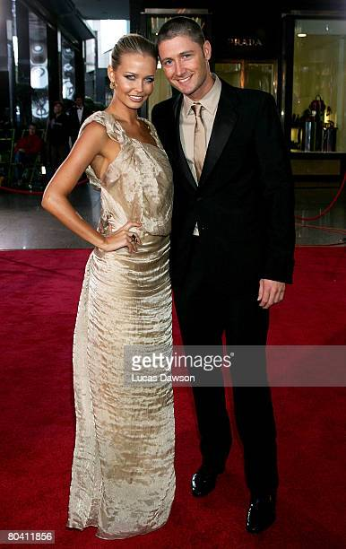 Michael Clarke and partner and model Lara Bingle arrives at the 2008 Allan Border Medal at Crown Casino on February 26, 2008 in Melbourne, Australia.