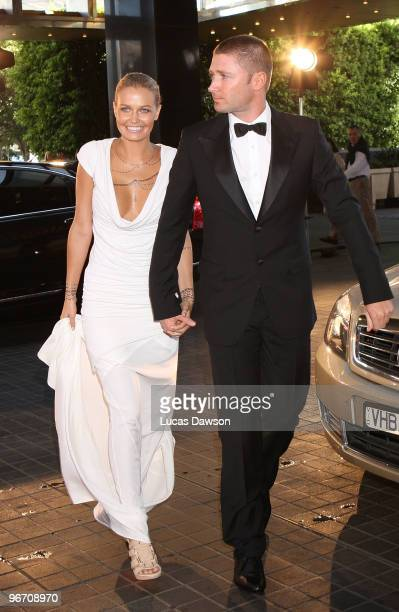 Michael Clarke and partner Lara Bingle arrive at the 2010 Allan Border Medal at Crown Casino on February 15 2010 in Melbourne Australia