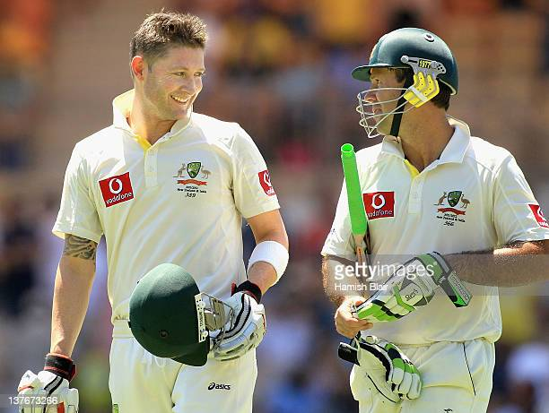 Michael Clarke and Ricky Ponting of Australia leave the field together at lunch durnig their 386 run partnership during day two of the Fourth Test...