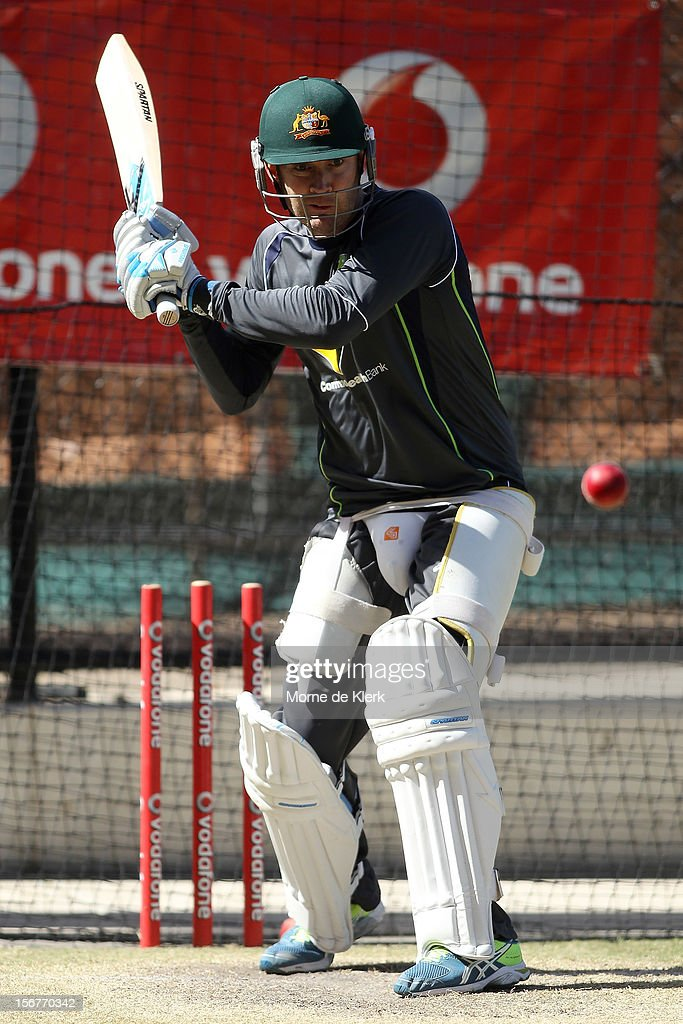 Michael Clarke bats during an Australian training session at Adelaide Oval on November 21, 2012 in Adelaide, Australia.