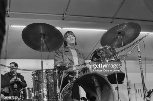 Michael Clarke drummer for American rock band The Byrds performs at Soundblast '66 at the Yankee Stadium in New York City 10th June 1966