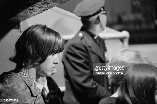 Michael Clarke drummer of rock group The Byrds backstage at Soundblast '66 a music concert at the Yankee Stadium in New York City 10th June 1966
