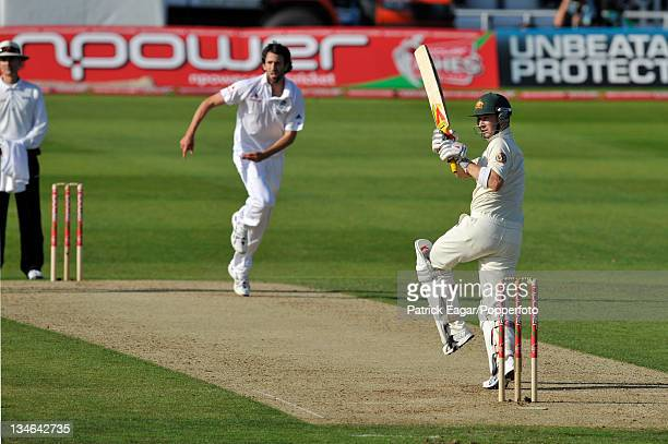 Michael Clarke hooks a short ball from Graham Onions England v Australia 4th Test Headingley Jul 09