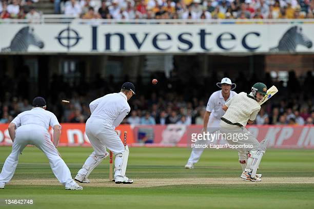 Michael Clarke is bowled by Graeme Swann for 136 England v Australia 2nd Test Lord's Jul 09