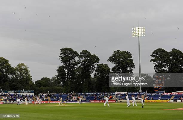 Michael Clarke is caught by Matt Prior off Stuart Broad under the floodlights at Cardiff England v Australia 1st Test Cardiff Jul 09