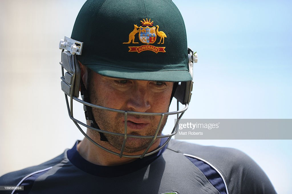Michael Clarke looks on during an Australian training session at The Gabba on January 17, 2013 in Brisbane, Australia.