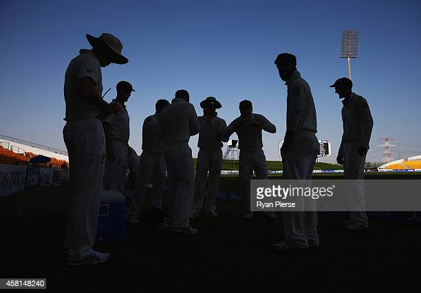 Michael Clarke of Australia addresses his team during Day Two of the Second Test between Pakistan and Australia at Sheikh Zayed Stadium at Sheikh...