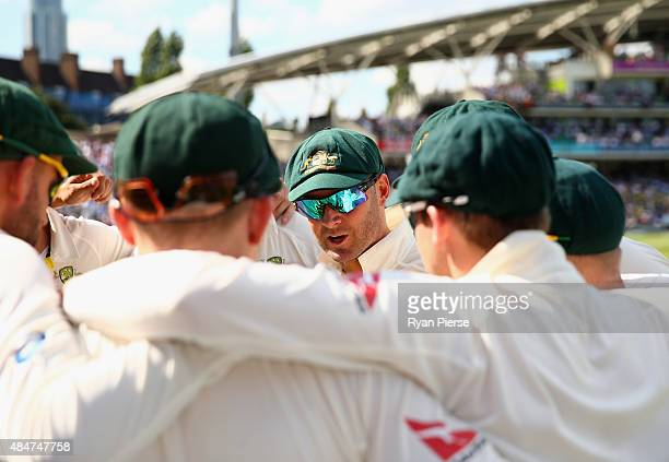 Michael Clarke of Australia addresses his team during day two of the 5th Investec Ashes Test match between England and Australia at The Kia Oval on...
