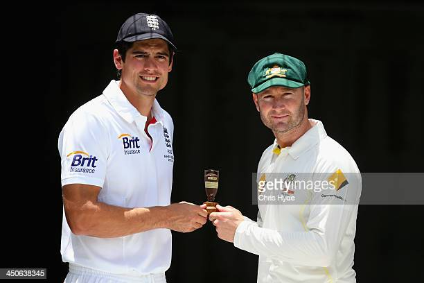 NOVEMBER 20 Michael Clarke of Australia and Alastair Cook of England hold a replica urn during an Ashes captain's photocall at The Gabba on November...