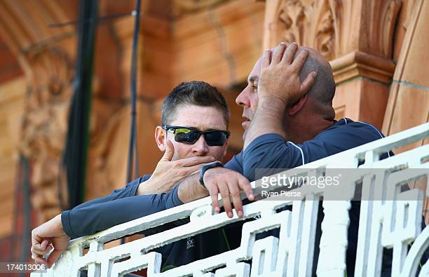Michael Clarke of Australia and Darren Lehmann coach of Australia look on during day two of the 2nd Investec Ashes Test match between England and...