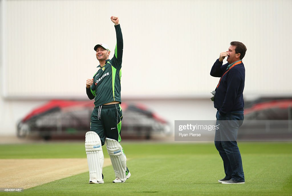 Michael Clarke of Australia and former Australian Captain Mark Taylor, talk during a nets session ahead of the 5th Investec Ashes Test match between England and Australia at The Kia Oval on August 18, 2015 in London, United Kingdom.