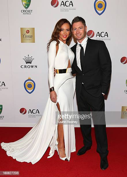 Michael Clarke of Australia and his wife Kyly Clarke arrive at the 2013 Allan Border Medal at Crown Palladium on February 4 2013 in Melbourne...