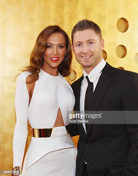 Michael Clarke of Australia and his wife Kyly Clarke arrive at the 2013 Allan Border Medal awards ceremony at Crown Palladium on February 4, 2013 in...
