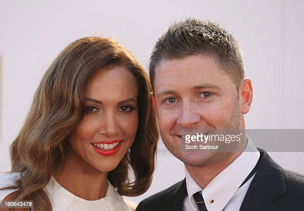 Michael Clarke of Australia and his wife Kyly Clarke arrive at the 2013 Allan Border Medal awards ceremony at Crown Palladium on February 4 2013 in...