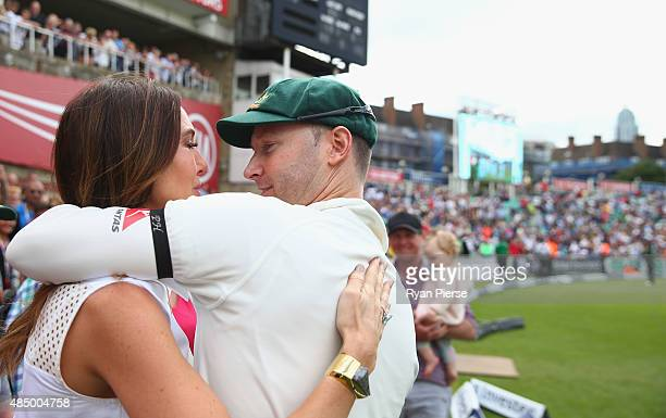 Michael Clarke of Australia and his wife Kyly Clarke embrace after his last test match during day four of the 5th Investec Ashes Test match between...