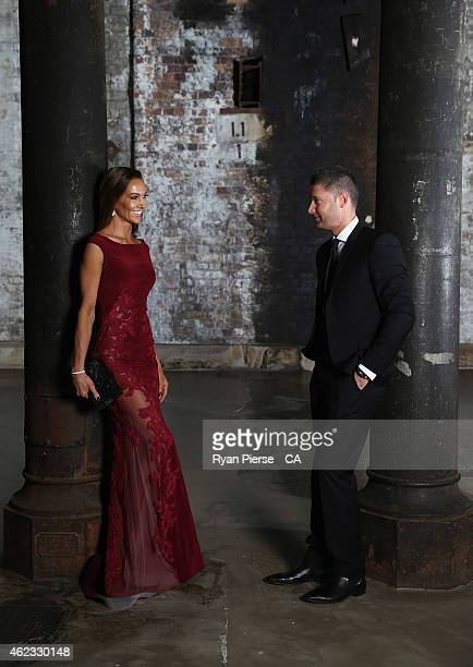 Michael Clarke of Australia and his wife Kyly Clarke pose ahead of the 2015 Allan Border Medal at Carriageworks on January 27, 2015 in Sydney,...