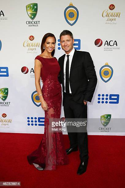 Michael Clarke of Australia and wife Kyly Clarke arrive ahead of the 2015 Allan Border Medal at Carriageworks on January 27 2015 in Sydney Australia
