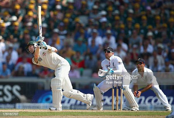 Michael Clarke of Australia bats as Matt Prior of England keeps wicket during day one of the 3rd Investec Ashes Test match between England and...