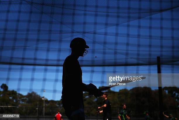 Michael Clarke of Australia bats during an Australia Nets Session at Adelaide Oval on December 4 2013 in Adelaide Australia