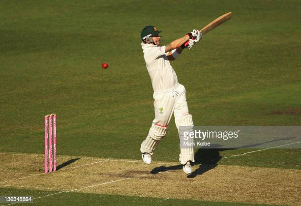 Michael Clarke of Australia bats during day one of the Second Test Match between Australia and India at the Sydney Cricket Ground on January 3, 2012...
