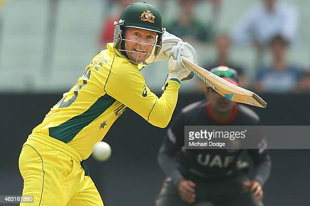 Michael Clarke of Australia bats during the Cricket World Cup warm up match between Australia and the United Arab Emirates at Melbourne Cricket...