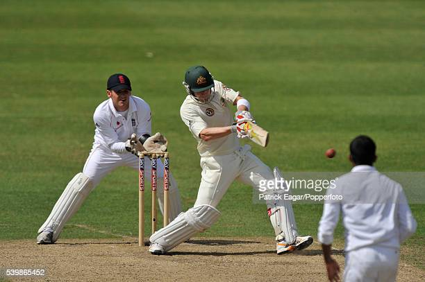Michael Clarke of Australia batting during the tour match between England Lions and Australia at Worcester England 3rd July 2009 The wicketkeeper for...