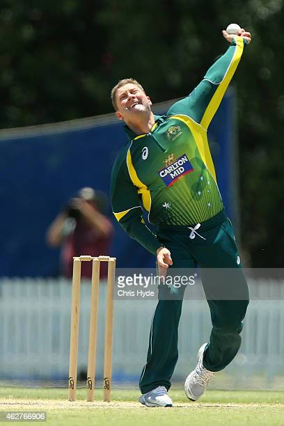 Michael Clarke of Australia bowls during the match between the Cricket Australia XI and Bangladesh XI at Allan Border Field on February 5 2015 in...